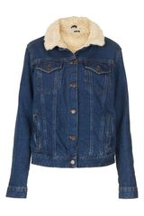 Topshop Moto Fleece Lined Denim Jacket - Lyst
