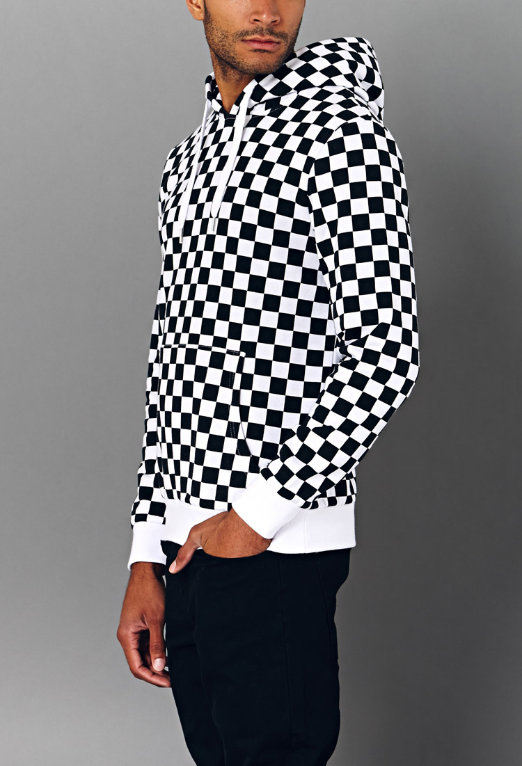 Lyst Forever 21 Bold Checkered Hoodie In Black For Men