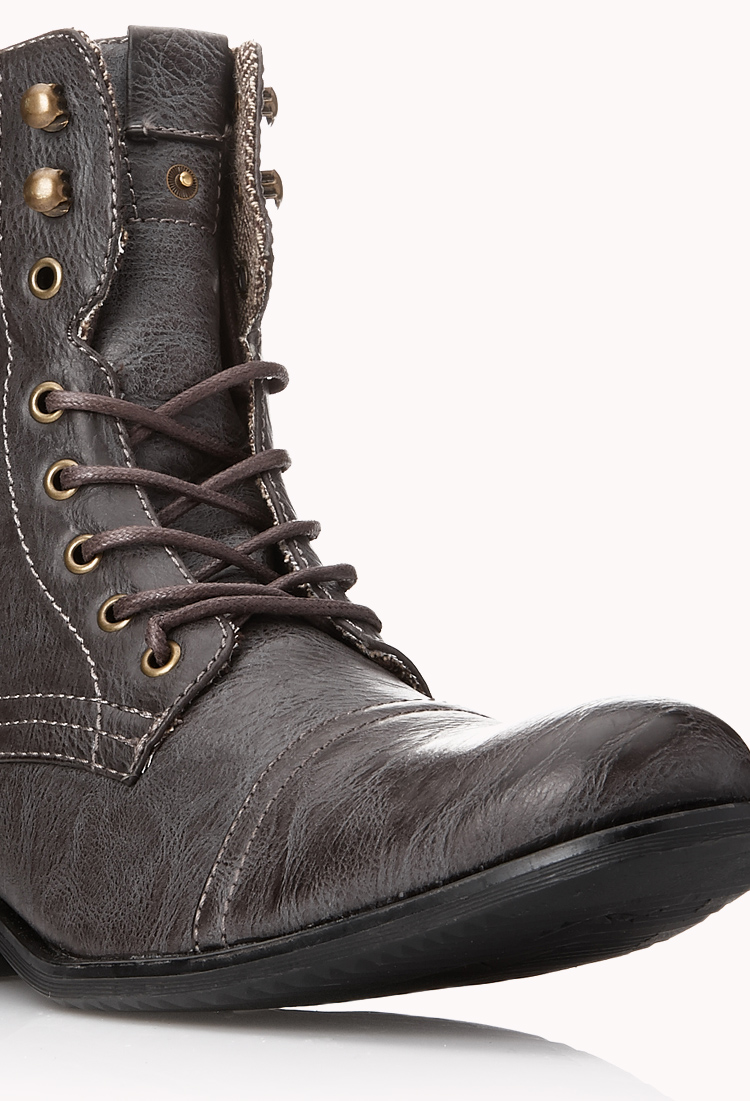 Lyst Forever 21 Distressed Combat Boots In Brown For Men