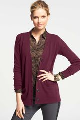Ann Taylor Collectible Cashmere Vneck Cardigan - Lyst