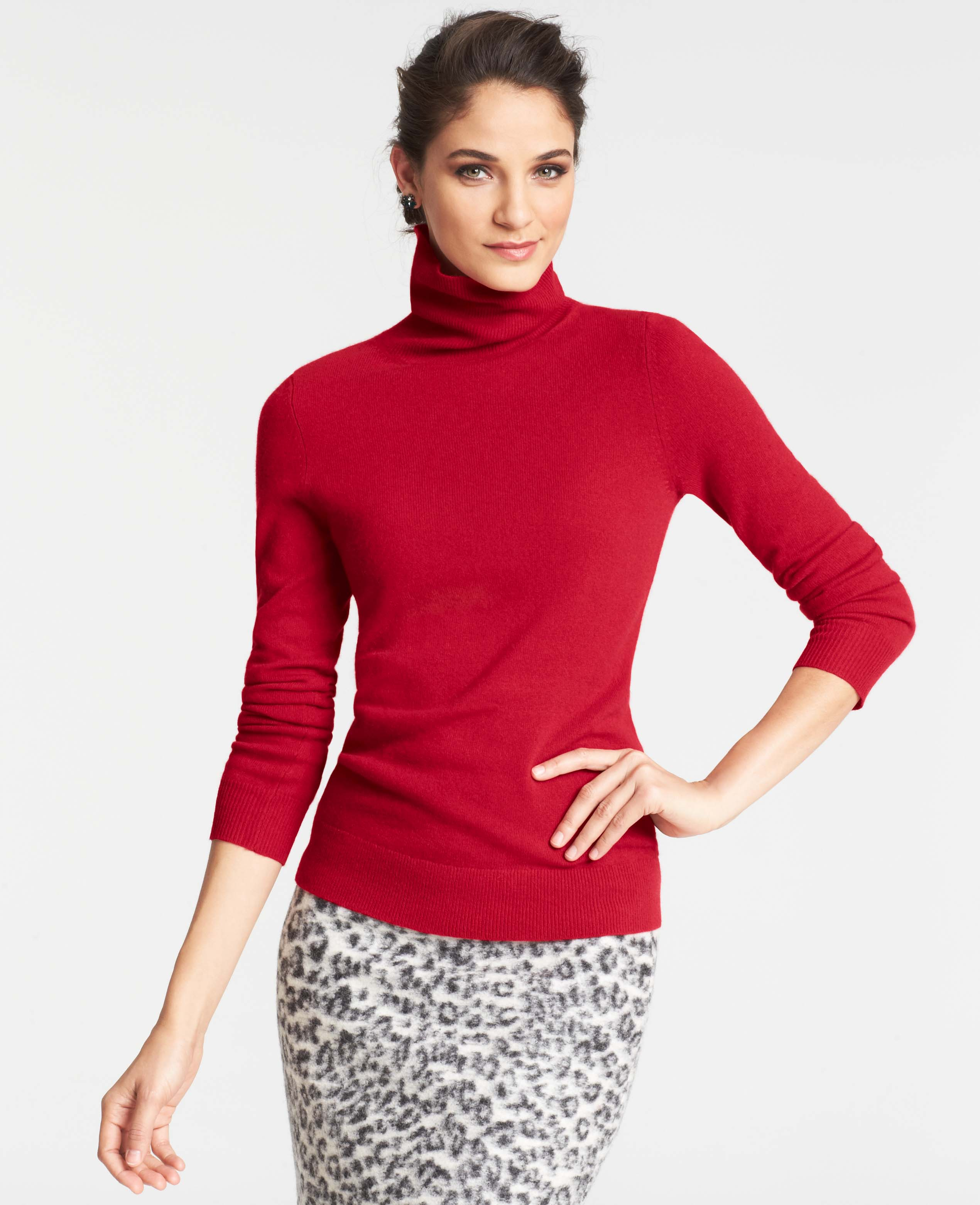 100  [ Red Turtleneck Sweater ] | Woman In Red Woolen Turtleneck ...