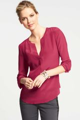 Ann Taylor Pleated Split Neck Silk Blouse - Lyst