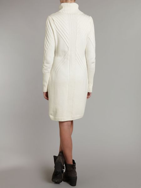 armani jeans long sleeve knit dress in white winter white