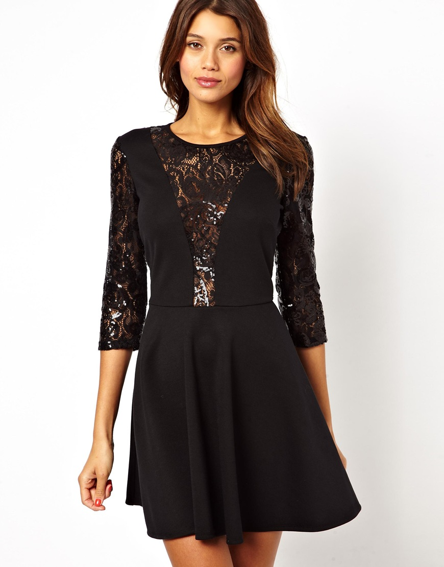 Asos Sequin and Lace Skater Dress in Black | Lyst