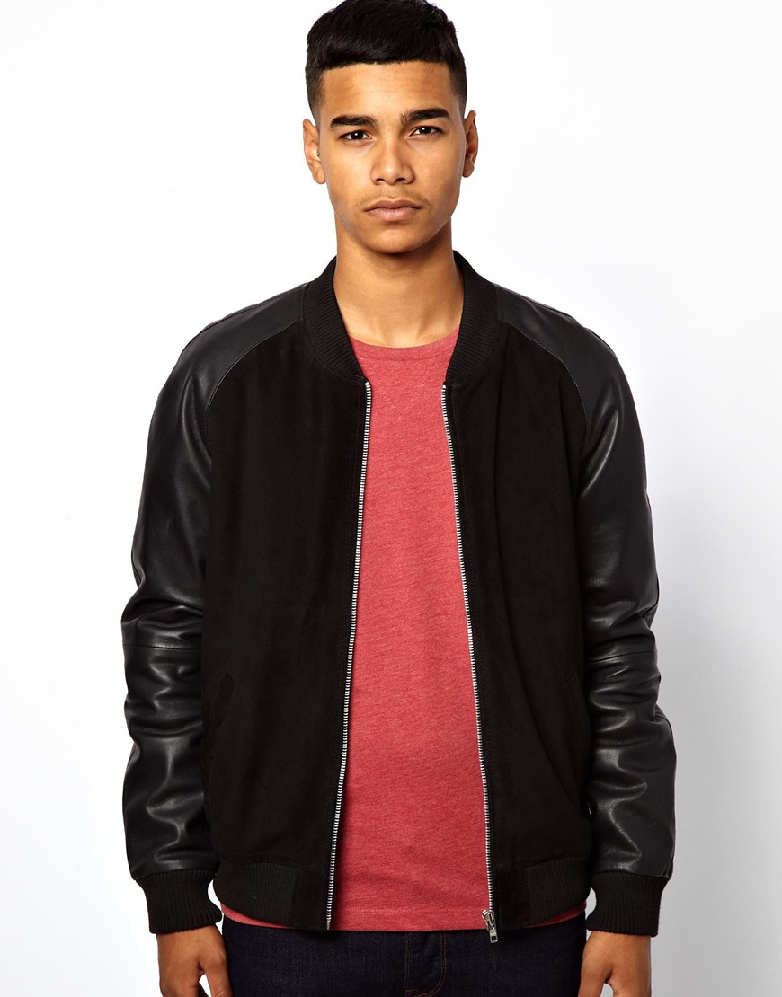 Mens Bomber Jacket With Leather Sleeves - Coat Nj