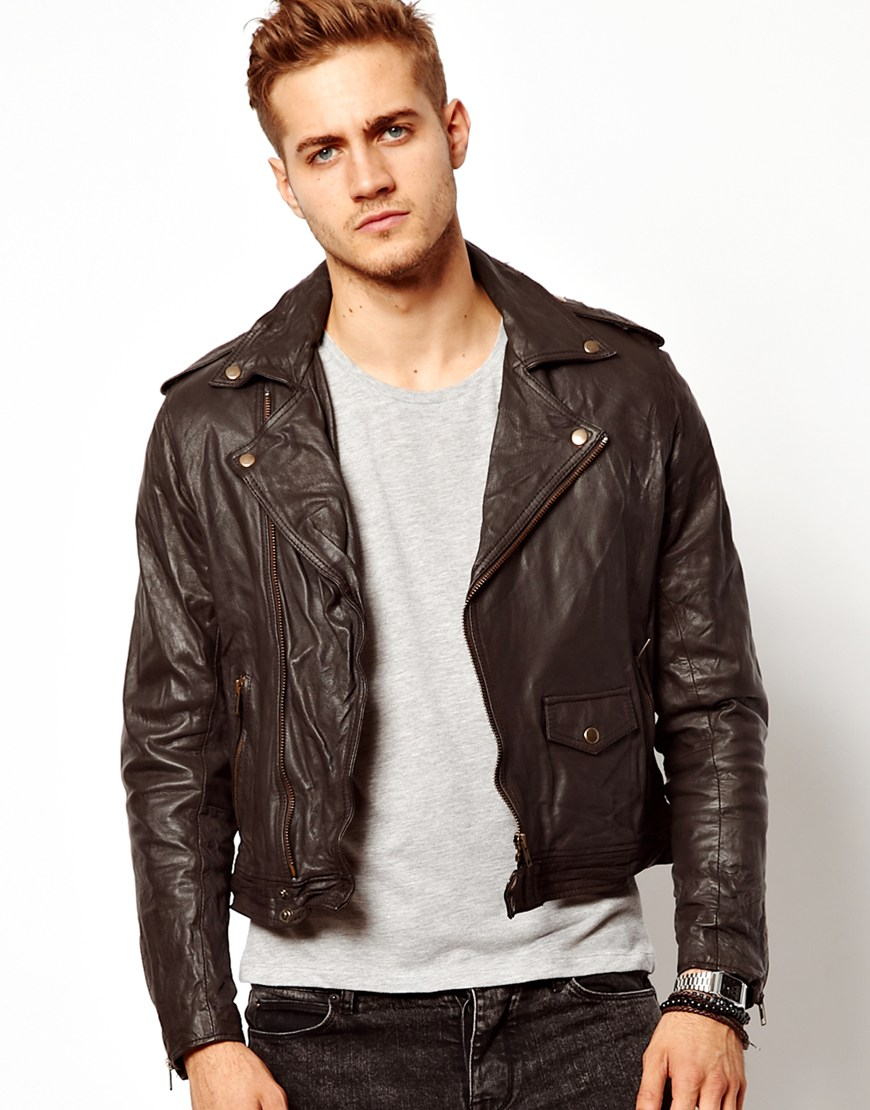 Leather Biker Jacket Brown