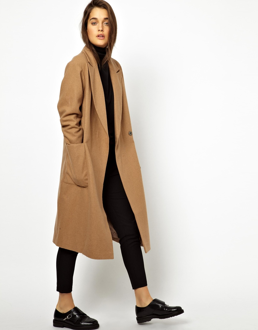 Lyst - Asos Oversized Wrap Front Coat in Natural