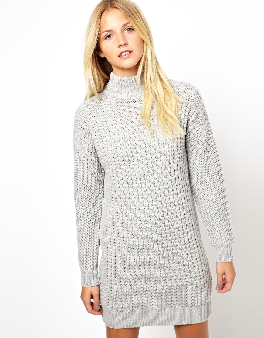 lyst  asos jumper dress in chunky stitch with high neck