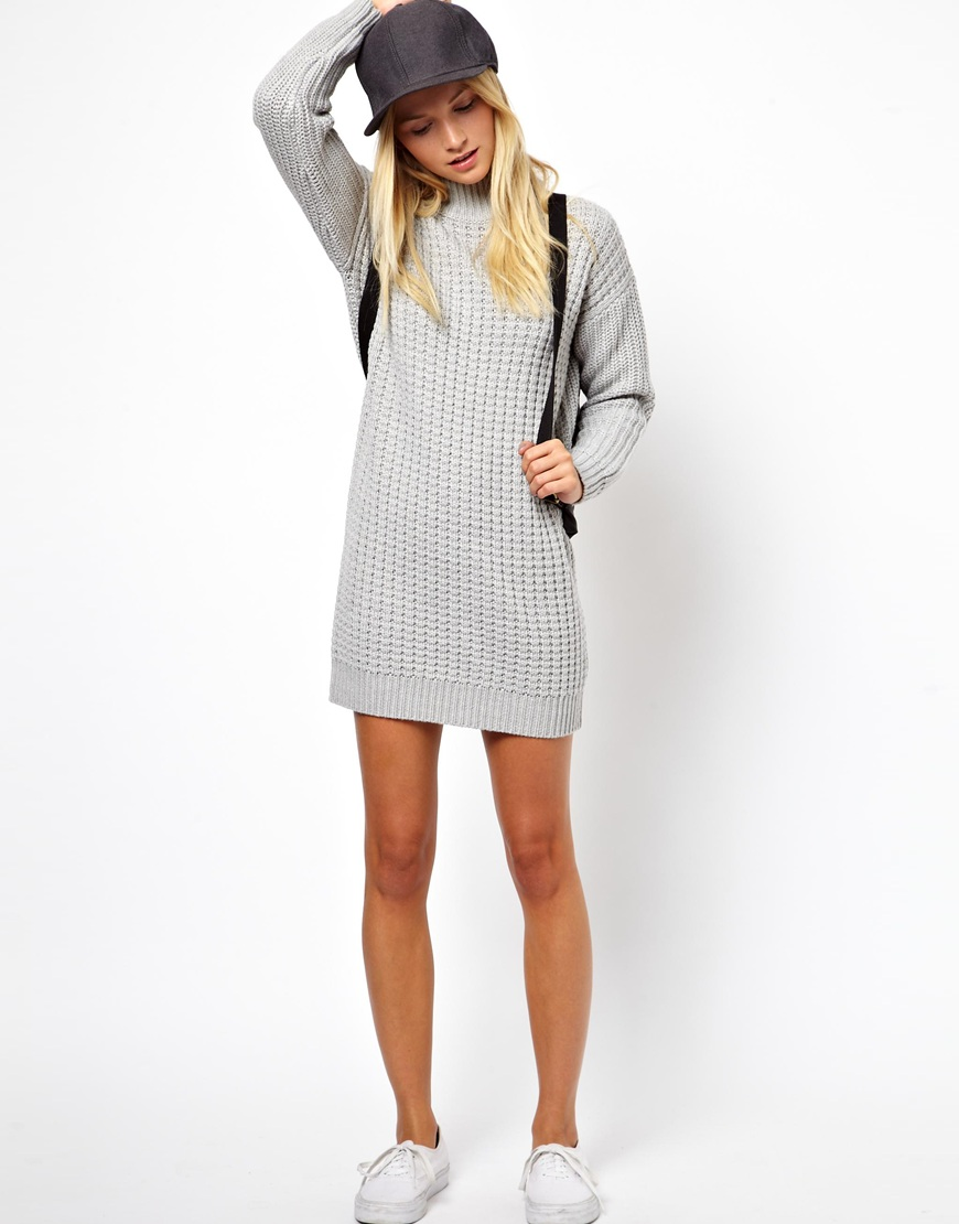 Asos jumper dress in chunky stitch with high neck in gray lyst