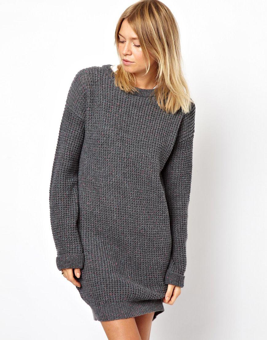Lyst Asos Sweater Dress In Gray