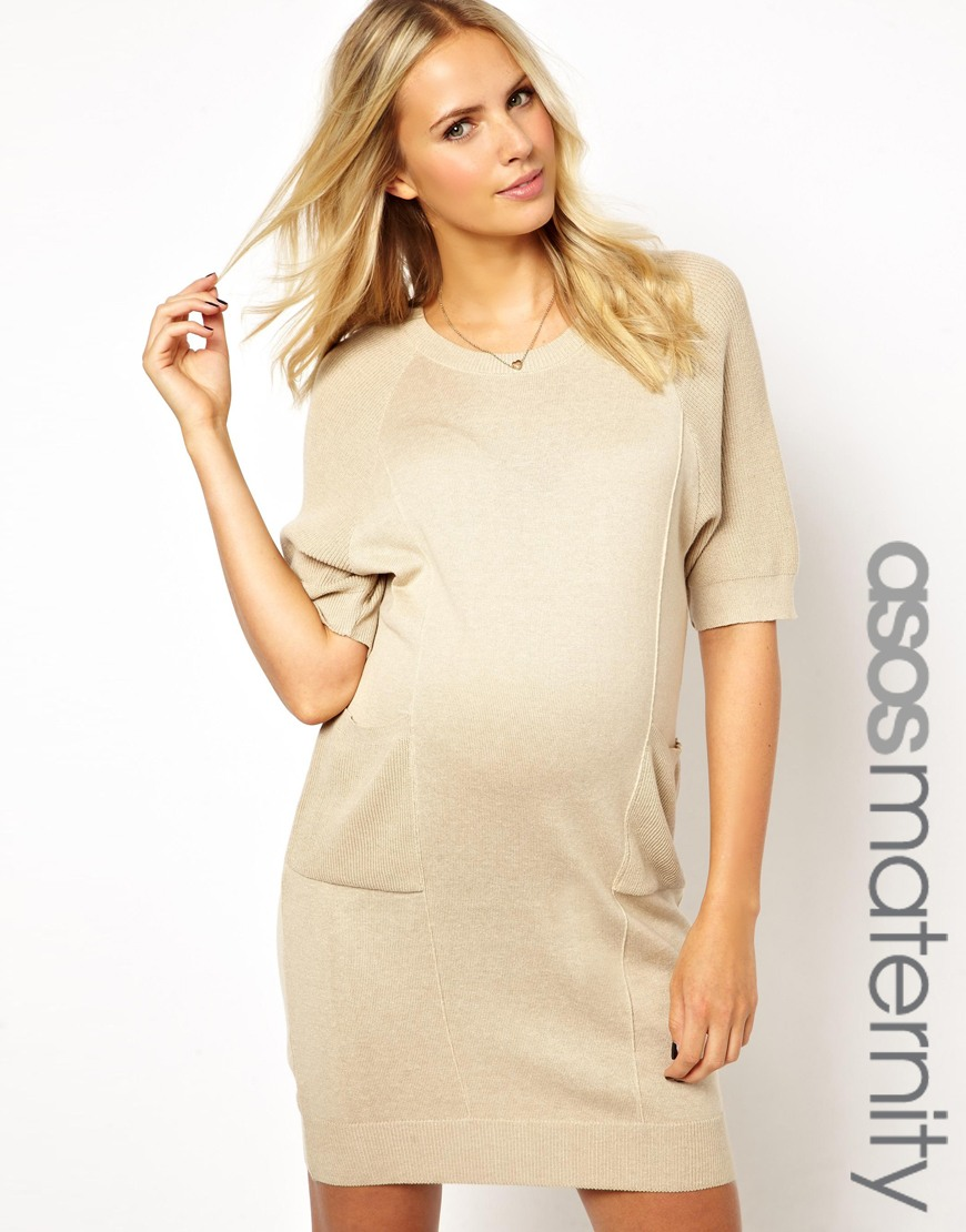 Lyst asos maternity exclusive sweater dress in cocoon shape in natural gallery ombrellifo Image collections