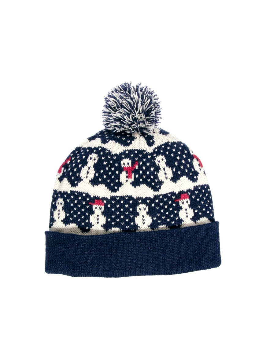 75613a53a01 Lyst - 2nd Day Asos Bobble Beanie Hat with Snowman Design in Blue ...
