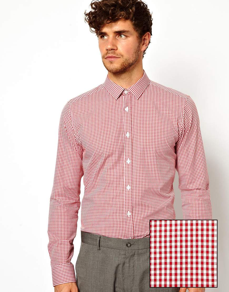 pringle of scotland smart gingham check shirt in long