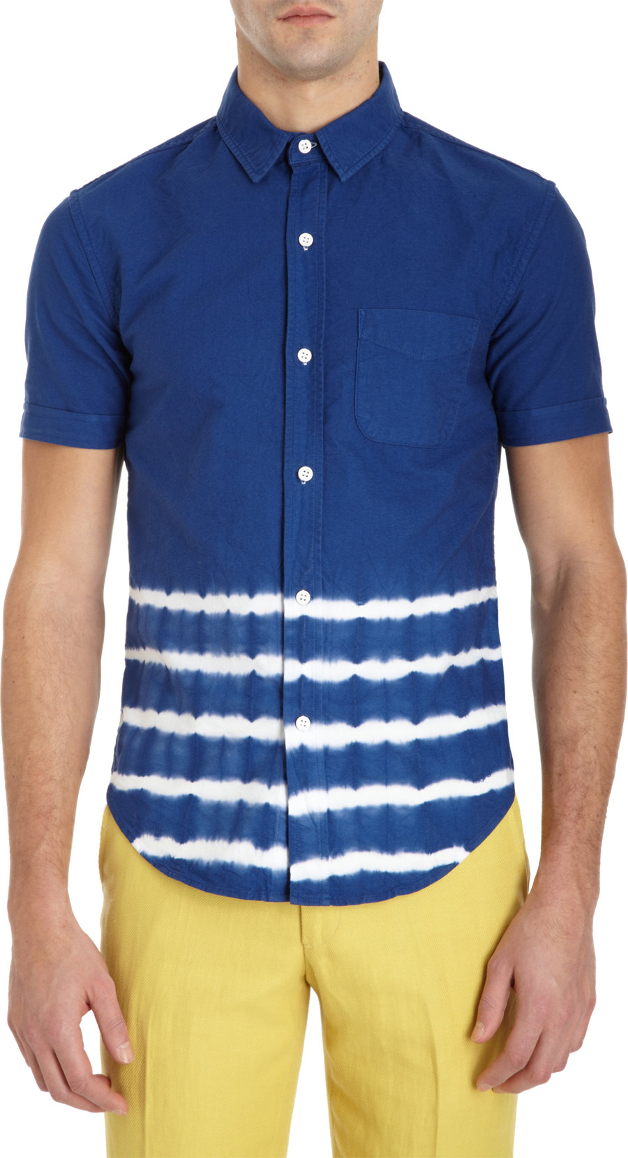 Band Of Outsiders Tie Dye Short Sleeve Shirt In Blue For
