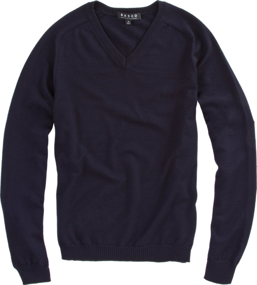 Lyst basco vneck sweater with tonal flannel elbow for Mens flannel shirt with elbow patches