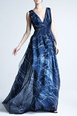 Carolina Herrera Handpainted Silk Organza Gown - Lyst