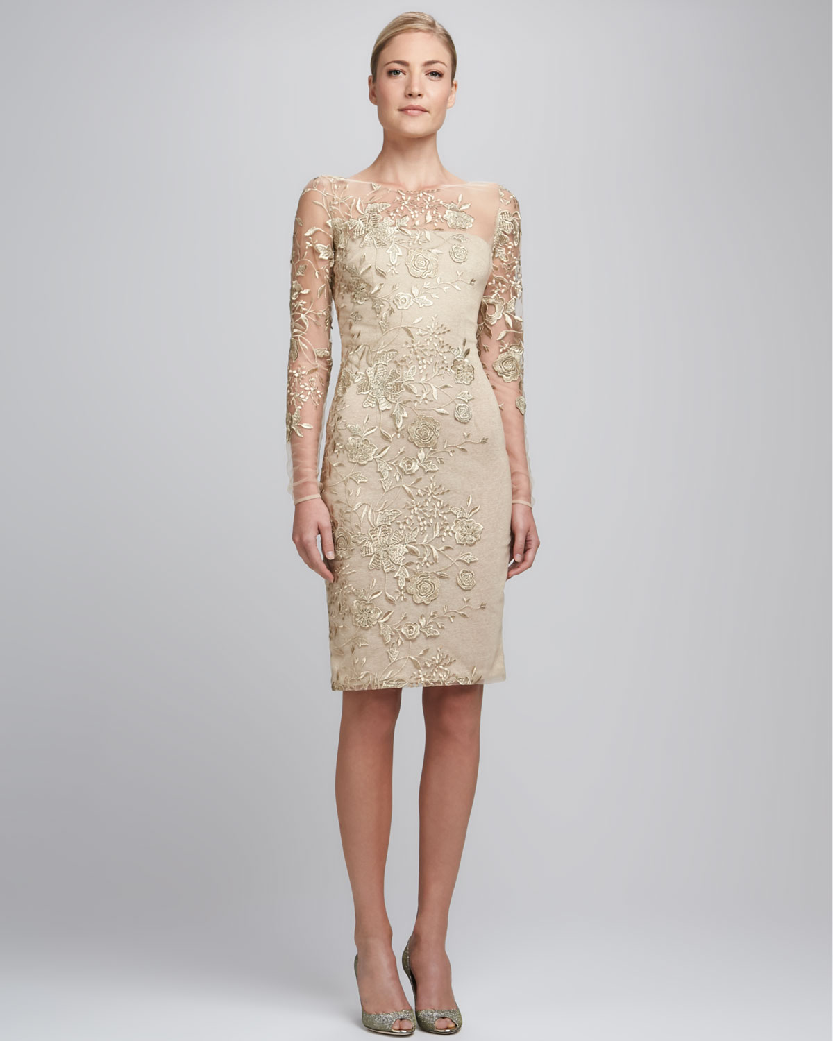 David Meister Embroidered Lace Cocktail Dress In Beige
