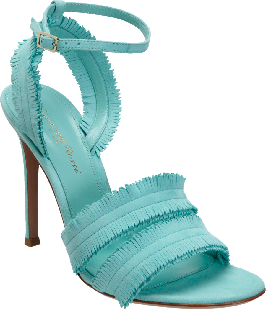 11b3e1af45aa Lyst - Gianvito Rossi Fringed Band Sandal in Blue