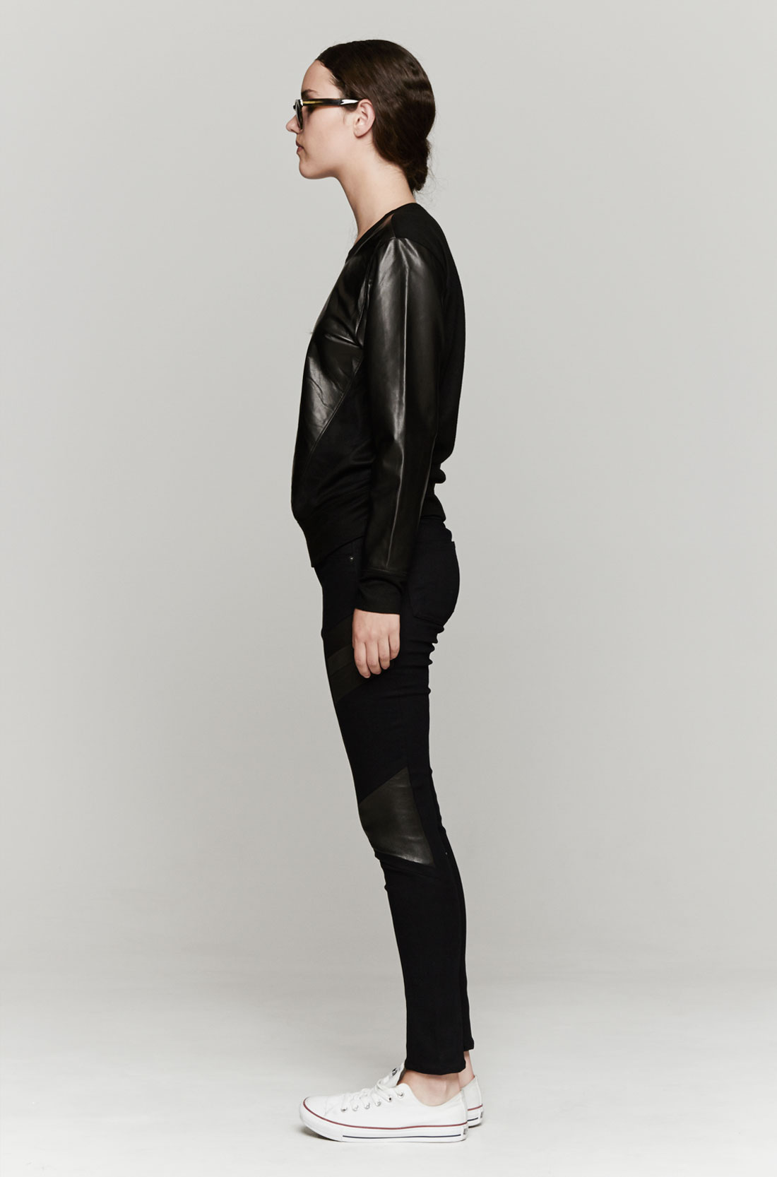 Lyst helmut lang leather sweatshirt in black - Sweatshirt kleid lang ...