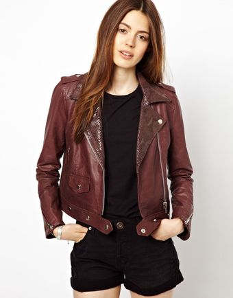 Asos Christa Cropped Boxy Biker with Snakeskin Collar Detail - Lyst