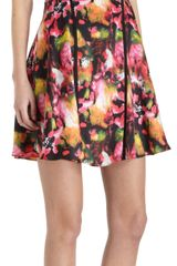 Icb Abstract Floral Foldover Tier Dress - Lyst