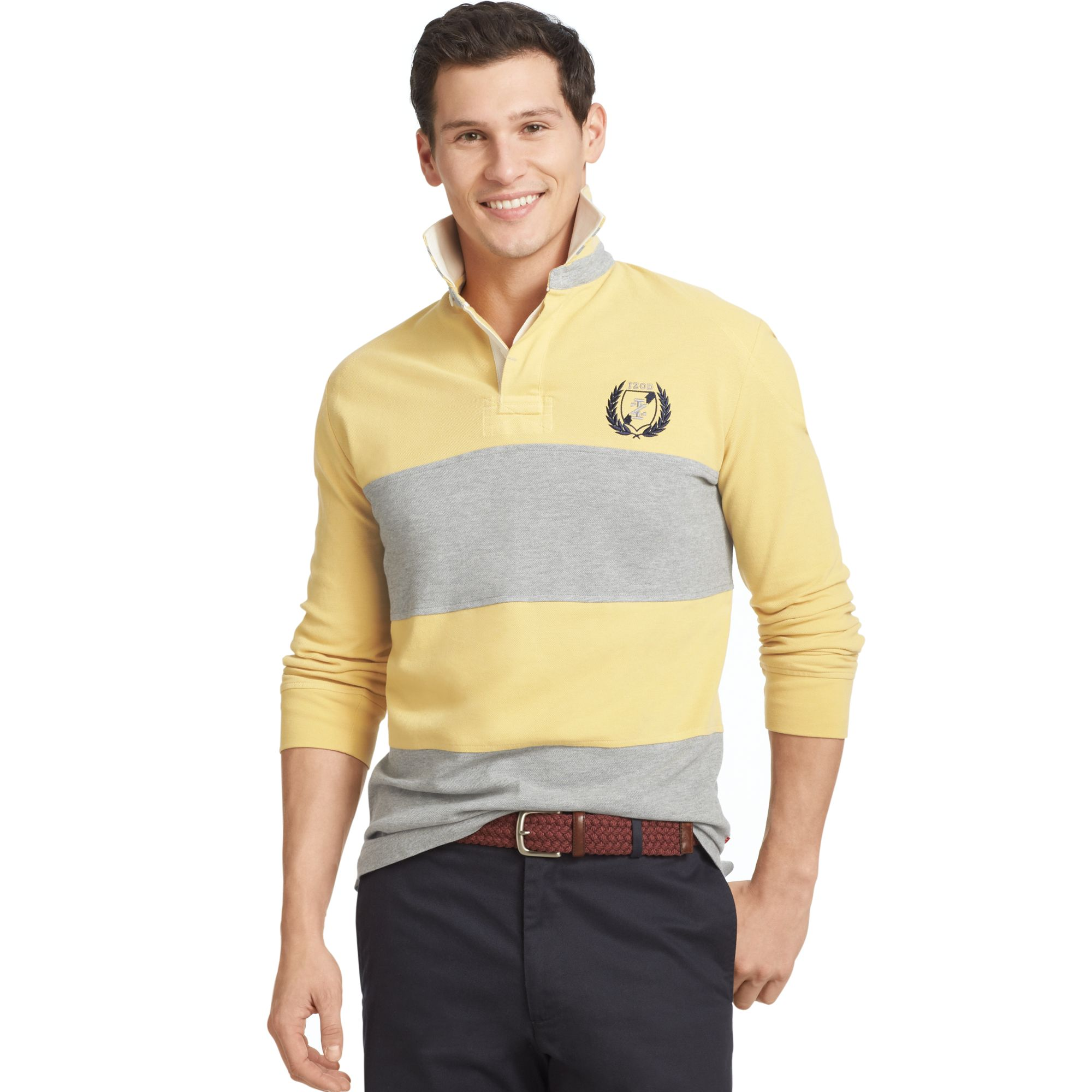 Izod Long Sleeve Striped Rugby Polo In Gray For Men