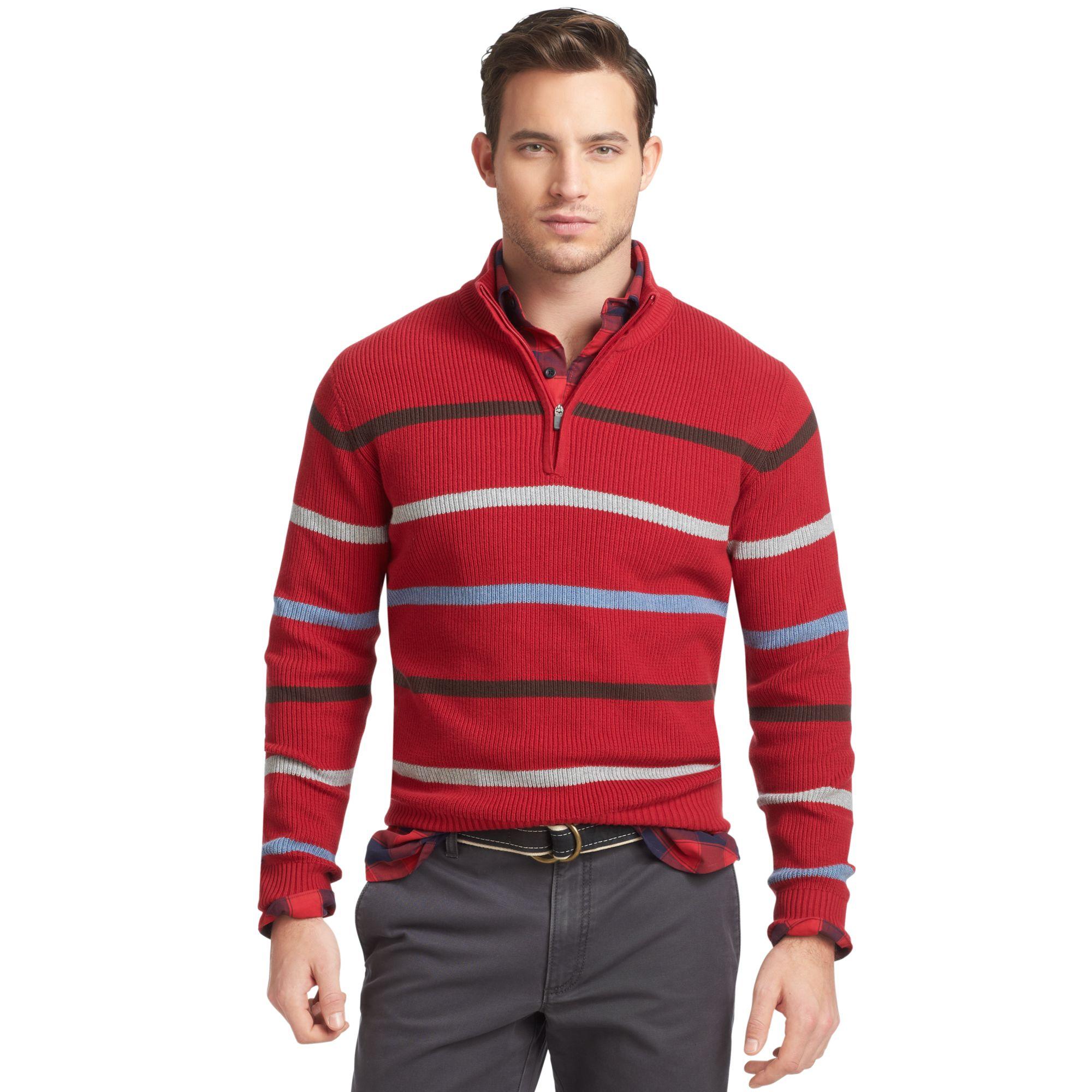Izod Sweater Quarterzip Mock Neck English Engineered Striped ...