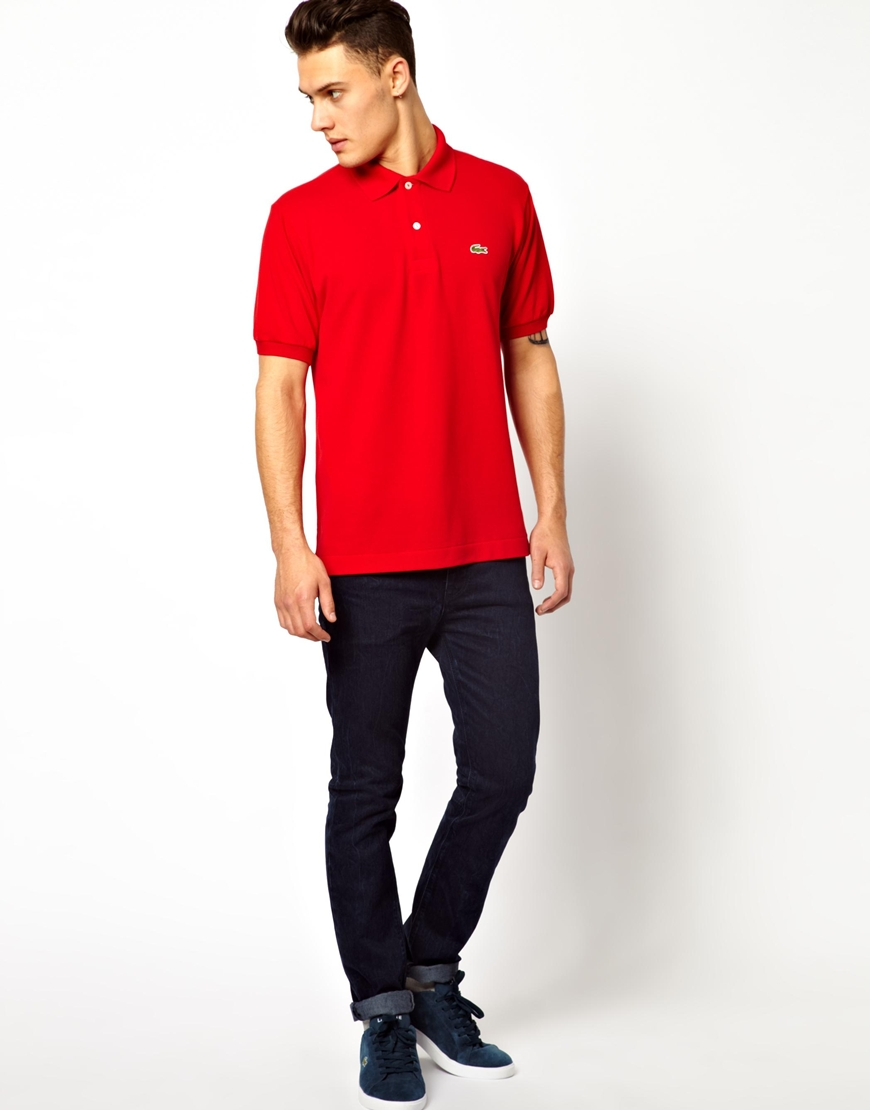 Lacoste polo shirt with crocodile in red for men lyst for Lacoste shirts with big alligator