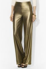 Lauren by Ralph Lauren Metallic Wide Leg Pant - Lyst