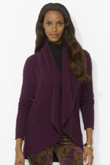 Lauren by Ralph Lauren Cable Knit Circle Cardigan - Lyst