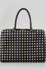 Marni Woven Raffia Leather Satchel Bag Blackwhite - Lyst