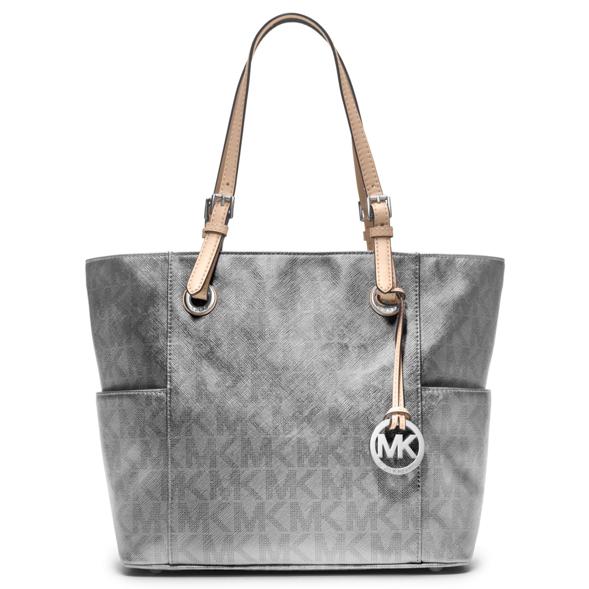60eb7849fb818 Lyst - Michael Kors Signature Metallic East West Tote in Gray