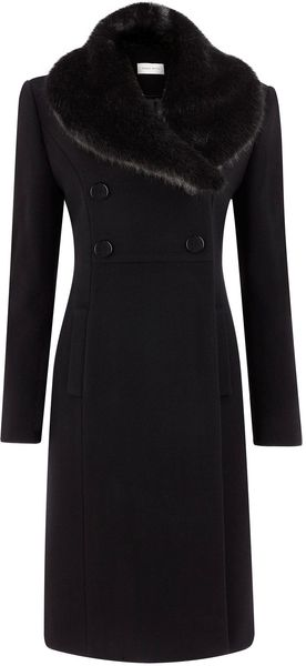 Minuet Petite Black Double Breasted Coat - Lyst