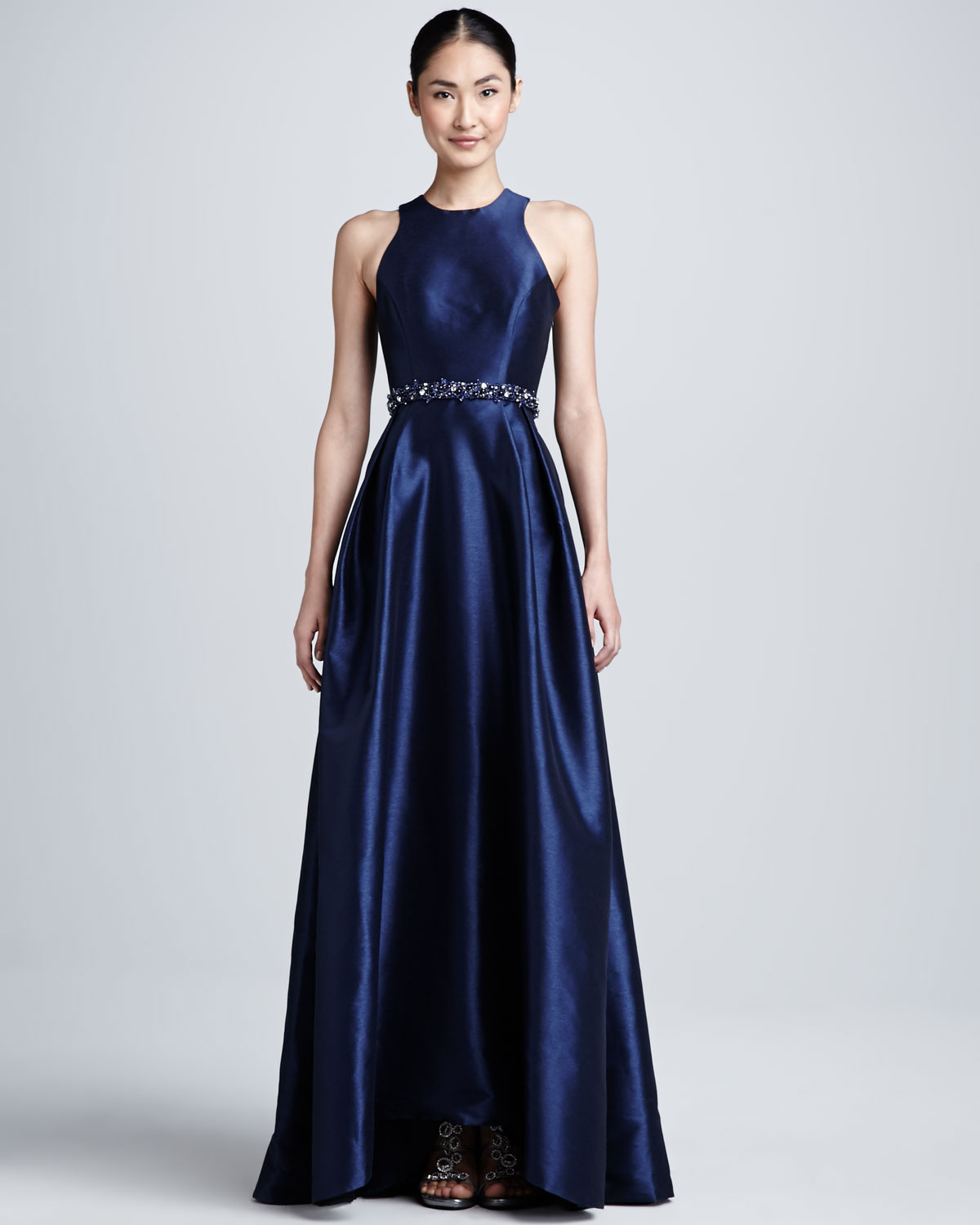 Lyst - Ml Monique Lhuillier Racer Front Beaded Waist Gown in Blue