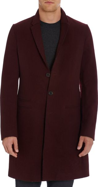 Neil Barrett Slim Tailored Fit Single Breasted Overcoat in Purple for