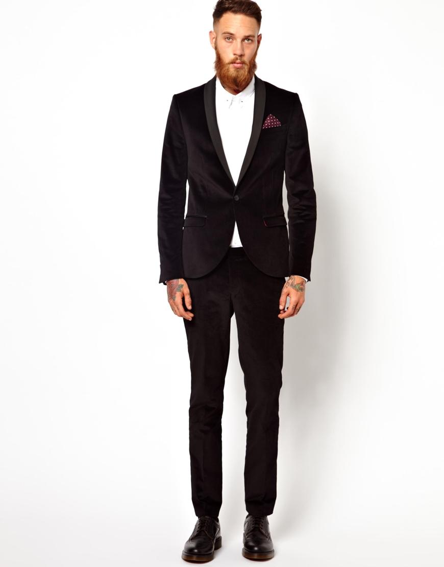 Ben sherman Noose Monkey Skinny Suit Jacket in Velvet in Black for ...