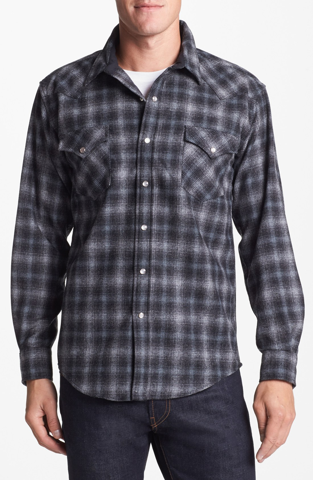 Pendleton canyon fitted plaid flannel shirt in gray for for Grey plaid shirt womens