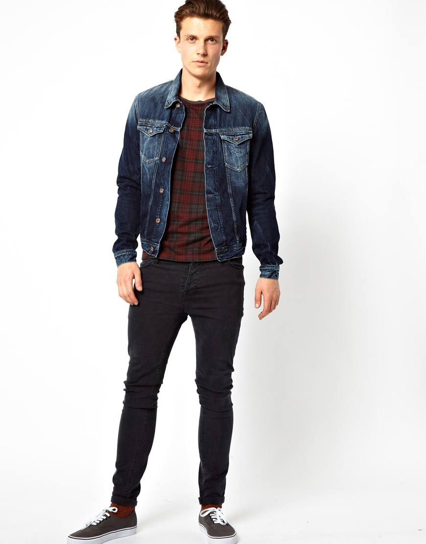 Izzue Pepe Denim Jacket Slim Fit Vintage Glory in Blue for Men | Lyst