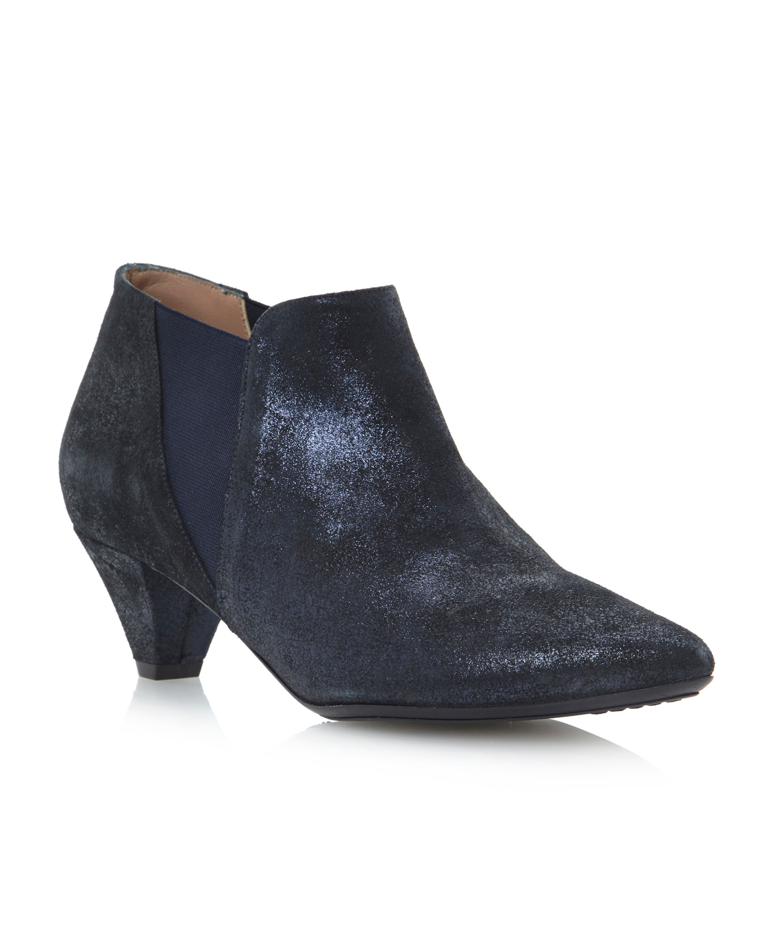 Pied A Terre Saxep Kitten Heel Ankle Boots In Blue Navy