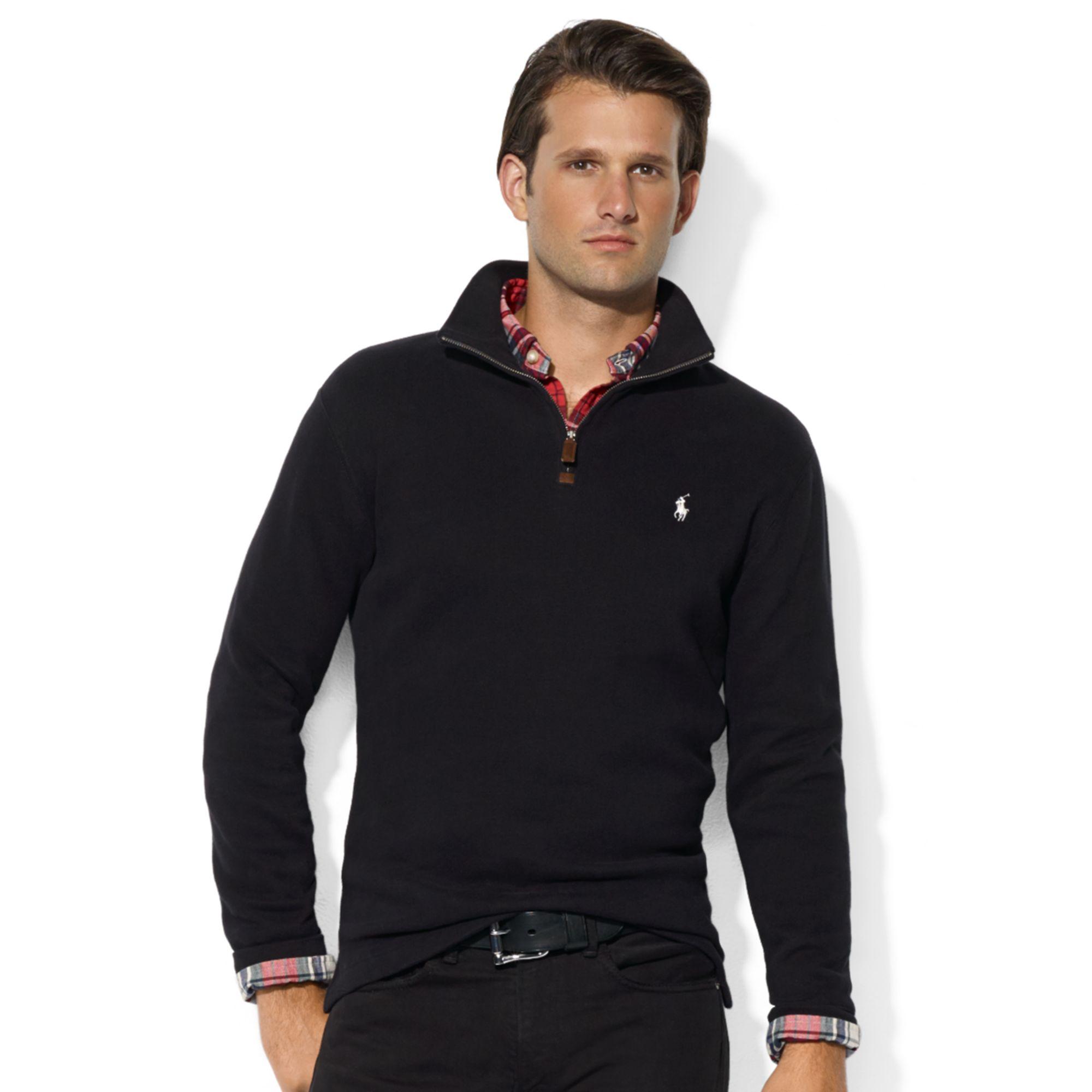efba2afadde Lyst - Ralph Lauren French Rib Half Zip Mock Neck Pullover in Black ...