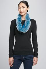 Sofia Cashmere Fox Furtrim Snood Blue - Lyst