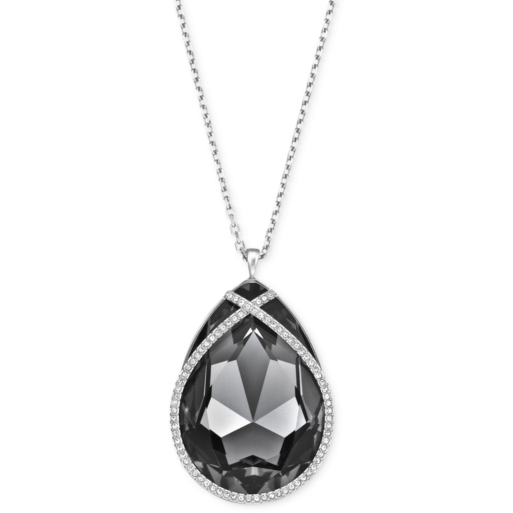 034a72084 Swarovski Rhodiumplated Black Crystal Teardrop Pendant Necklace in ...