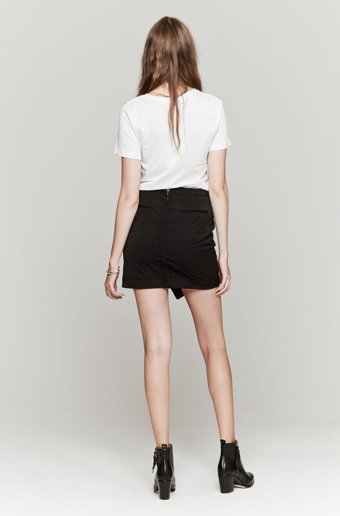 black leather wrap skirt dress ala