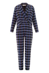 Thakoon Addition Check Print Shirt Tail Jumpsuit - Lyst