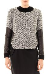 Thakoon Addition Leather Sleeve Boucle Jacket - Lyst