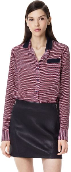 Theory Rogene Shirt in Cubes Silk in Red (FIERY RED MULTI) - Lyst