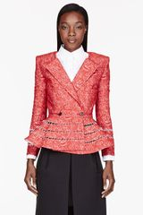 Thom Browne Red Cashmere and Silk Brocade Peplum Jacket - Lyst