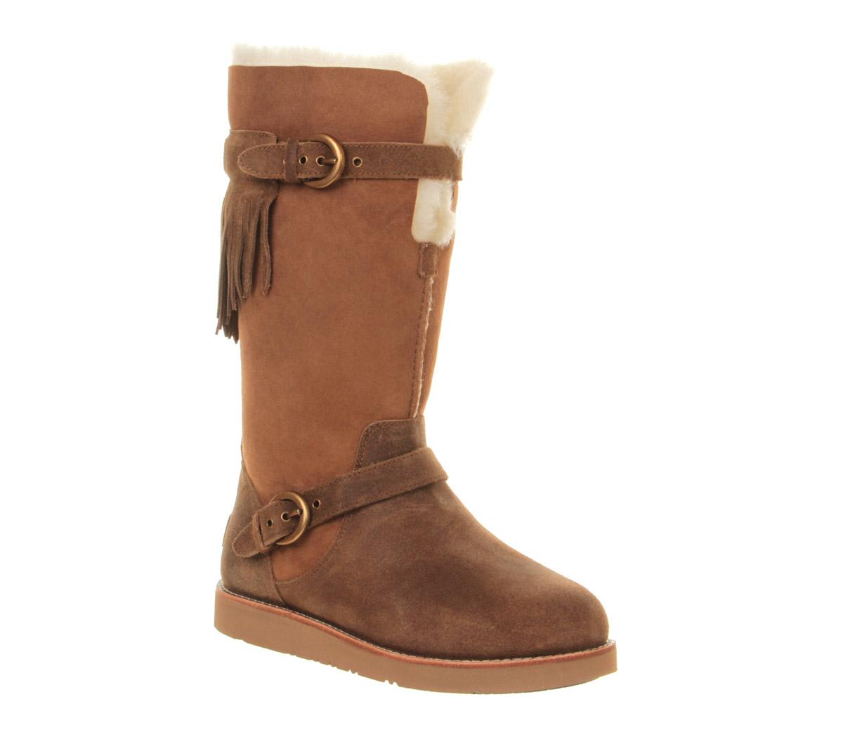 ugg dauphine mid heel calf boot in brown chestnut lyst