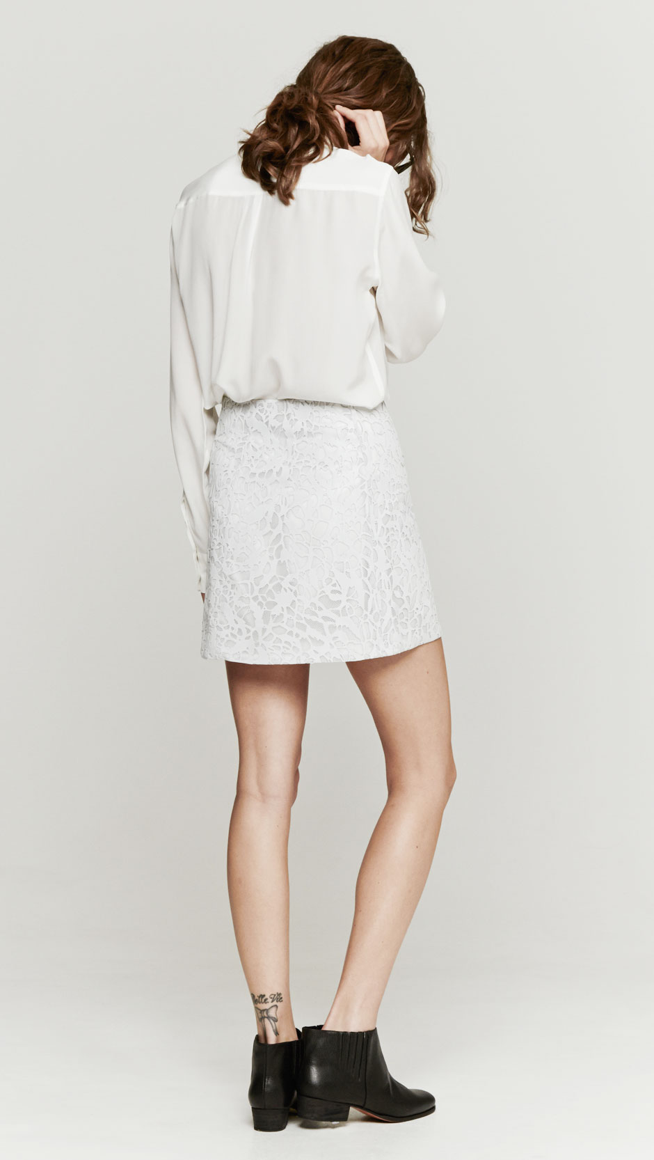wayne leather lace skirt in white lyst