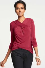Ann Taylor Crepe Crossover Long Sleeve Top - Lyst